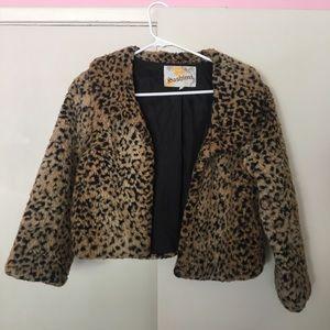 Vintage leopard print, faux fur cropped coat